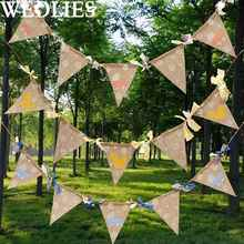 Triangle Flags Burlap Banners Linen Bunting Garlands Wedding Birthday Party Ornament Accessories Outdoor Events Camping Decor