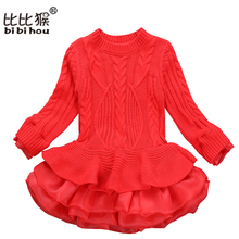 Korean Clothing Store Sweater Woollen Thick Warm Girl Dresses Knitted Chiffon Winter Kids Girls Clothes Children Clothing Dress(China)