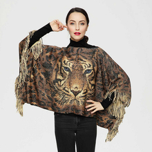 2017 New Fashion Sex Euro Leopard Spring Style Animal Tiger Printed Women Shawl Tassels knitting Pashmina large Wrap Scarf PJ021