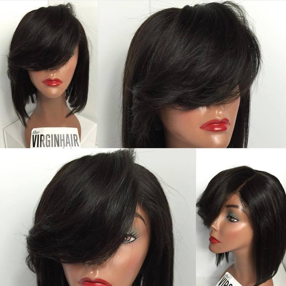 Cheap New Fashion Straight Bob Wigs Synthetic Lace Front Wigs With Side Bangs Heat Resistant Synthetic Hair Wigs<br><br>Aliexpress