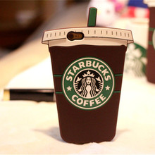 Cute Starbuck Cup Cartoon Silicone Case Cover For Apple iPhone 6 6S plus 7 7 Plus 5S SE  Skin Back Cover Funda Capa Hood