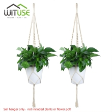 WITUSE Free Shipping! 2PCS Plant Hanger Pot Holder Rope Handmade Macrame 4 Leg White Garden Home Decoration Flower Plant Display(China)
