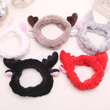 Soft Lovely Antlers Hair Band Facial Mask Hair Band Christmas Deer Horn Spa Wash Face Makeup Women Cartoon Soft Headbands(China)