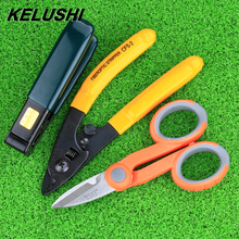 KELUSHI Free Shipping fiber optic tool kits Pixian fiber stripping double hole miller pliers stripper Tool +Kevlar Scissors(China)