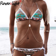 Floweralight Vintage Boho Antique Silver Belly Chains Ethnic Sexy Body Chain Necklaces for Women Collier Bikini Beach Jewelry