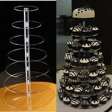 7 Tier Crystal Acrylic Round Cupcake Stand or clear perspex Cupcake Display Tools Suitable for Christmas/Wedding/Birthday Craft(China)
