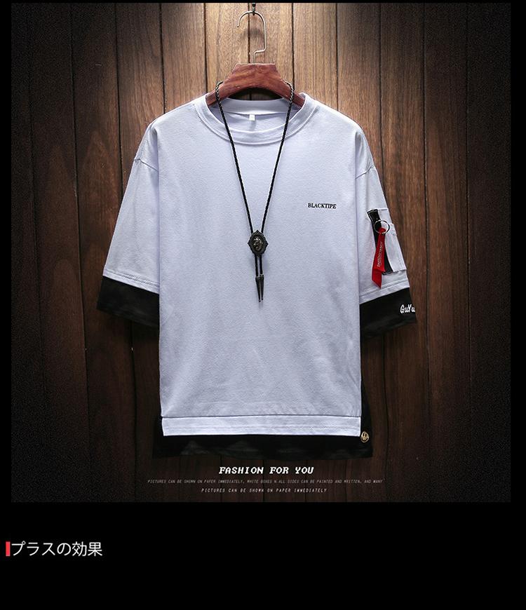 Men's Short Sleeve T-shirt 5-5 Sleeve Summer Korean Fashion Hip-hop Fake Two Loose Chao Brand 7-Sleeve Half Sleeve male MP191 9