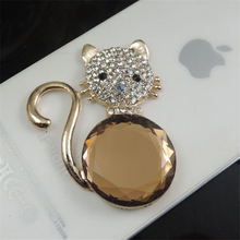 DOWER ME Brand Lovely Gem cat DIY Decoration 3D Mobile Phone Decorations 3D Alloy Stickers for Phone(China)