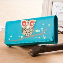 Owl Wallet Long Creative Female Card Holder Casual Zip Ladies Clutch PU Leather Coin Purse ID Holder