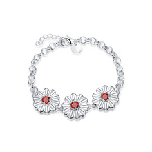 JEXXI Charm Flower Design Wedding Bracelet & Bangles Silver Jewelry Fashion Accesories Red Cubic Zirconia Wholesale