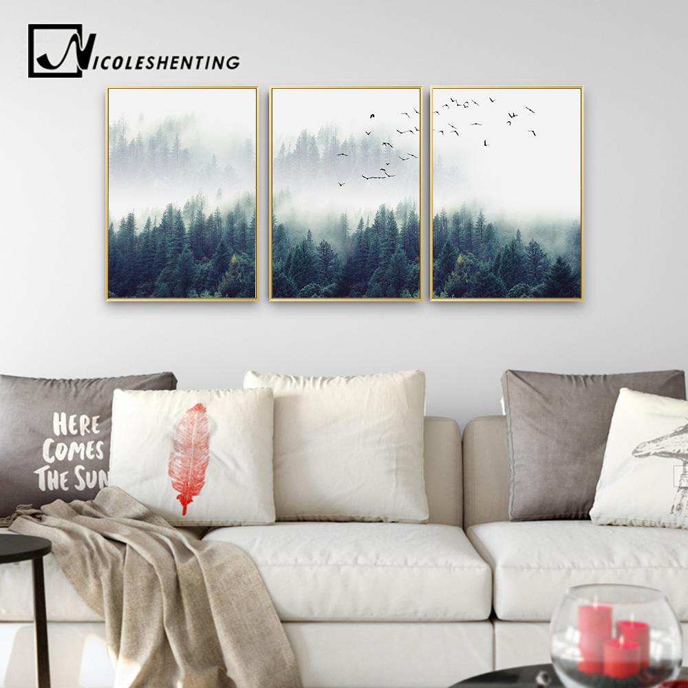 Decorative Painting DIY Forest Landscape Wall Art Canvas Living Room ...