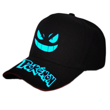 Hot Anime Pokemon Gengar Cotton Printing Sun Hat Luminous Hat Baseball Cap unisex Anime Accessories Cosplay Hip-Hop Fashion Gift(China)