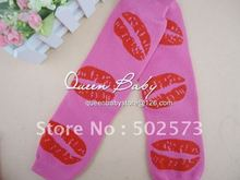 Pink &Red Lips Baby Leg Warmers For Valentine Day Baby Gifts Soft Arm Warmers 60pair/lot(China)