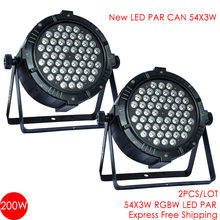 Free Shipping 2PCS/LOT Led Par Can 54x3 Watts rgbw Super Bright 3W led rgbw par64 stage lighting par led 54x3 led dj par light(China)