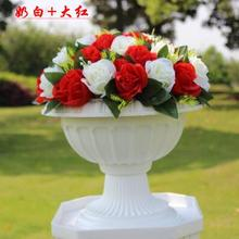 Wholesale Wedding or Event Decoration 37 head Fabric Rose Flower Bouquets for Roman Pillar Vase Decoration
