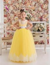 Low Price Ball Gown Jewel Floor Length Yellow Tulle Flower Girl's Dresses appliques Beaded Little Girl's Pageant Dresses With