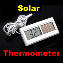 1M Potable Solar Powered Digital LCD Thermometer -50 degree to 150 degree Sensor Cable White