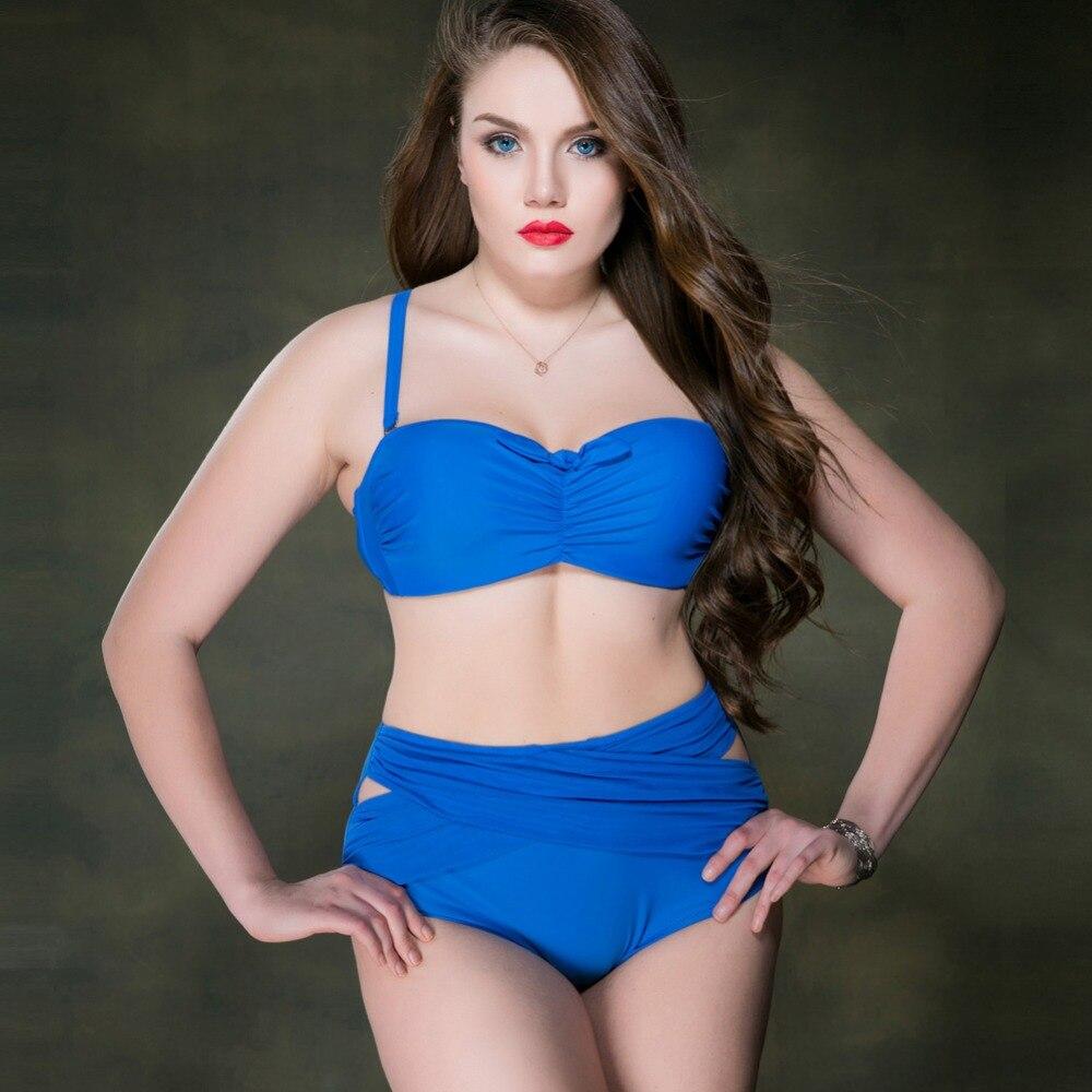 2017 new women bikini swimsuit sexy solid high waist underwire swimwear plus large size famale beach biquini bathing suit<br><br>Aliexpress