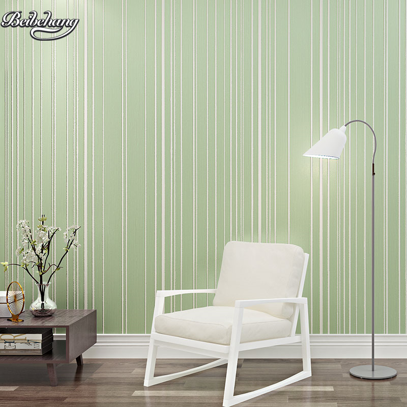 beibehang 3D stereo simple modern green striped wallpaper bedroom living room full of environmental non-woven wallpaper<br>