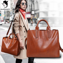 HANSOMFY Fashion Handbags 2017 Business Patent Leather Shoulder Bags Vintage Satchels Famous Brand PU Versatile Shopping Bag(China)