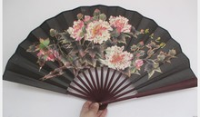 "Large 10"" Flower Men's Silk Hand Fans Home Decoration Ehtnic Crafts Gift Foldable Fan Wedding Party Favor"