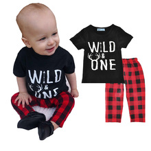 Summer Fashion Wild One Boys Clothing Set Short Sleeved Black T-shirt Top+Red Plaid Pants Casual Kids Boys Clothes Outfit DS8