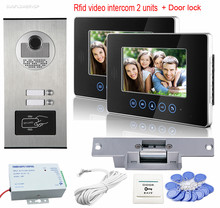 "7"" Color Door Video Phone RFID Access Camera For 2 Apartment With 2 Monitors Video Intercom Doorbell System+Electric Strike Lock"