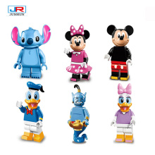 6Pcs Cartoon Minifigures Legoes Mickey Minnie Mouse Don Donald Duck Daisy Stitch Aladdin Kid Toys Blocks Action Figures 4.3CM