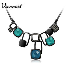 Viennois Gun Plated Magic Cube Muliti Crystal Statement Chain Pendant Necklace For Women Jewelry New Accessories