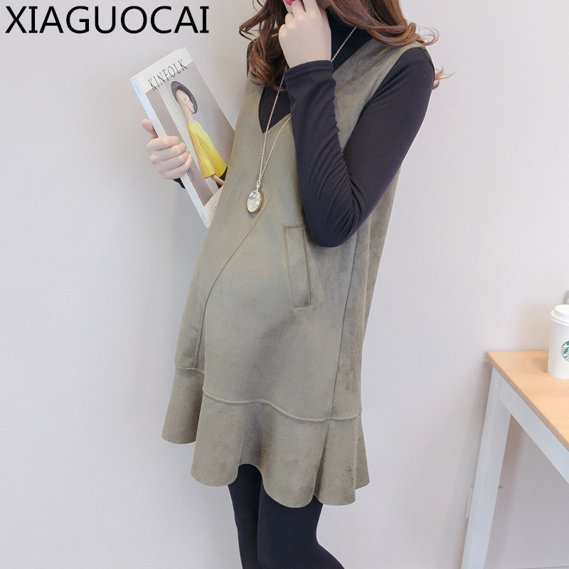 2017 Pregnant Woman Winter Warm Dresses 2pcs long-sleeved with velvet thickening T-shirt+Fishtail dress Maternity Clothes B58 10<br>