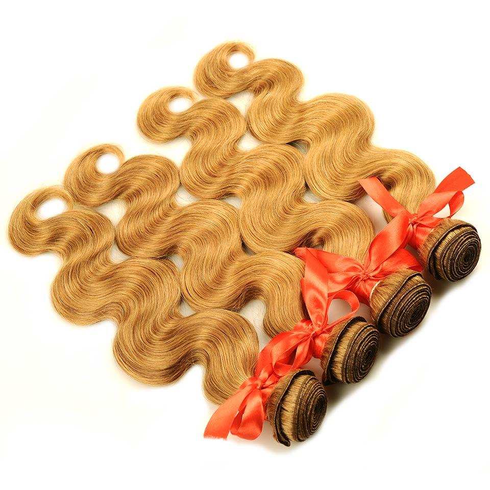 Pinshair 4 PcsPack Body Wave Hair Honey Blonde Brazilian Hair Weave Bundle Deals #27 100% Human Hair Extensions Non Remy Hair  (66)