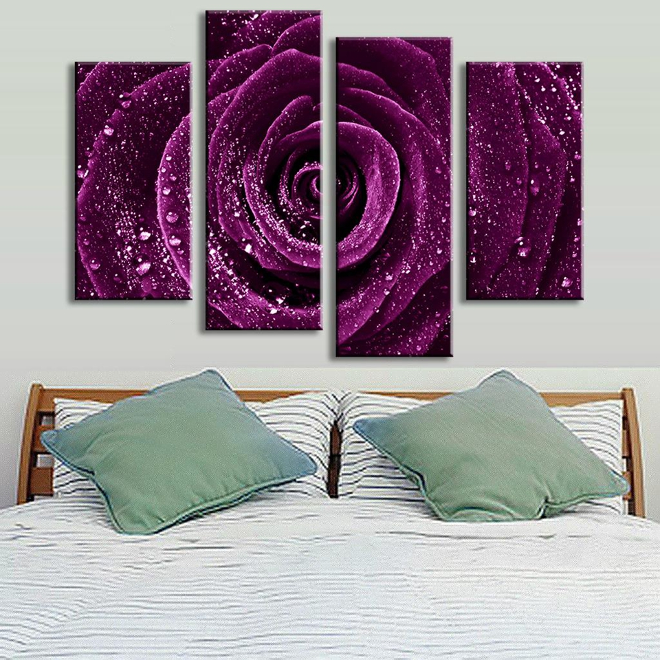 4-Pcs-Set-Flower-Purple-Rose-Raindrops-Canvas-Prints-Painting-Classical-Purple-Flower-Wall-Picture-for