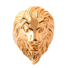 High Quality Gold Stainless Steel Lion Ring Biker Gothic Lion Head Ring Black Heavy Thai Unique Men's Cocktail Rings PR005(China)