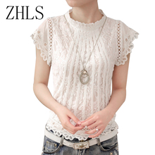 Ladies Black White Lace Blouse Short Sleeve Stand Collar Women Tops Korean Elegant Patchwork Crochet Women Shirt Plus Size Blusa