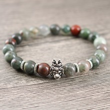 Natural Stone Bloodstone Beaded Bracelet Men Vintage Silver Plated Lion Charm Wrist Energy Yoga Fashion Jewelry