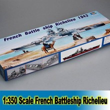 1:350 Scale Big Model Building Kit French Battleship Richelieu 1943 Boat Model Assembly Kits Static Scale Model Free Shipping(China)