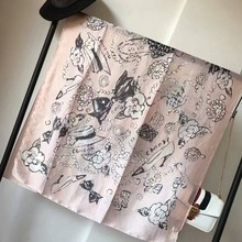Luxury Brand Ladies Twill Scarves Wraps 2017 New Pink Black Chinese Design Silk Scarf Head Scarf For Spring Autumn sunscreen