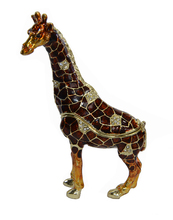 2015 free shipping standing dark red giraffe wild animal bejeweled trinket jewelry small jewelry earrings rings display box