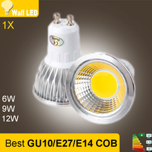Super Bright GU 10 Bulbs Light Dimmable Led Warm/White 85-265V 6W 9W 12W GU10 COB LED lamp light GU 10 led Spotlight