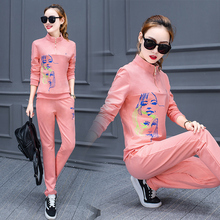 Women Sweatshirt Pants Casual Clothing Set Tracksuit Print Sportswear Large Size 3XL Two-Piece Long Sleeve Leisure Fashion