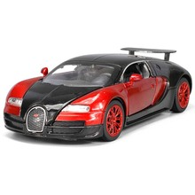 Collectible Alloy Diecast Car Model 1/32 Bugatti Veyron Toy Vehicles Pull Back Kids Toy Car Mini Classic Sound and Light Toys