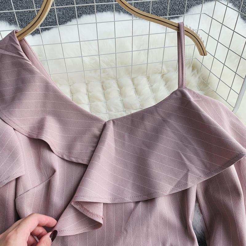 Spring Summer Jumpsuit for Woman Women's 2019 New Heart Machine Lotus Edge V-neck Long Sleeve High-waist Stripe Short Overalls 22