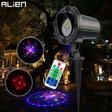 ALIEN Remote 24 Patterns Red Green Blue Motion Static Laser Light Projector Garden Waterproof Christmas Holiday Effect Lighting(China)