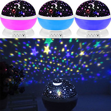 2017 New Romantic All over the Sky Star Moon Sky Rotation Night Projector Light Lamp Projection with High Quality Kids Bed Lamp(China)