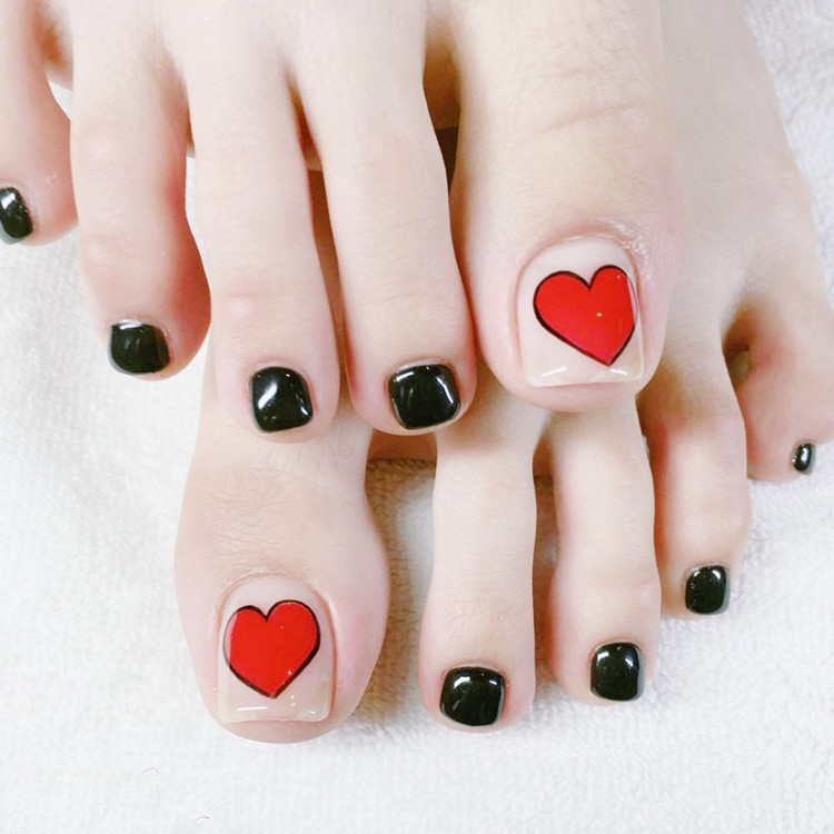 24pcs Short Kiss Wedding False Toe Nails With Designs Japanese Square Fake Toe Nails Black Clear Full Cover Toe Nail Tips