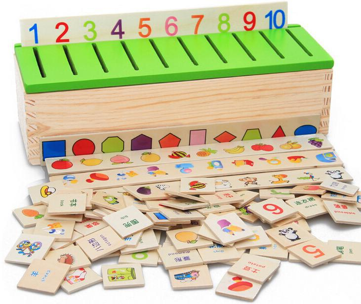Baby Toys Montessori Knowledge Classification Box Wooden Toys Educational Early Learning Toys Digital/Animal Blocks<br>