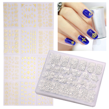 12 PCS Fashion Nail Art Stickers 3D Crown Flower Mix Design Nail Decals Tips Manicure Nail Art Decorations Golden/Silver