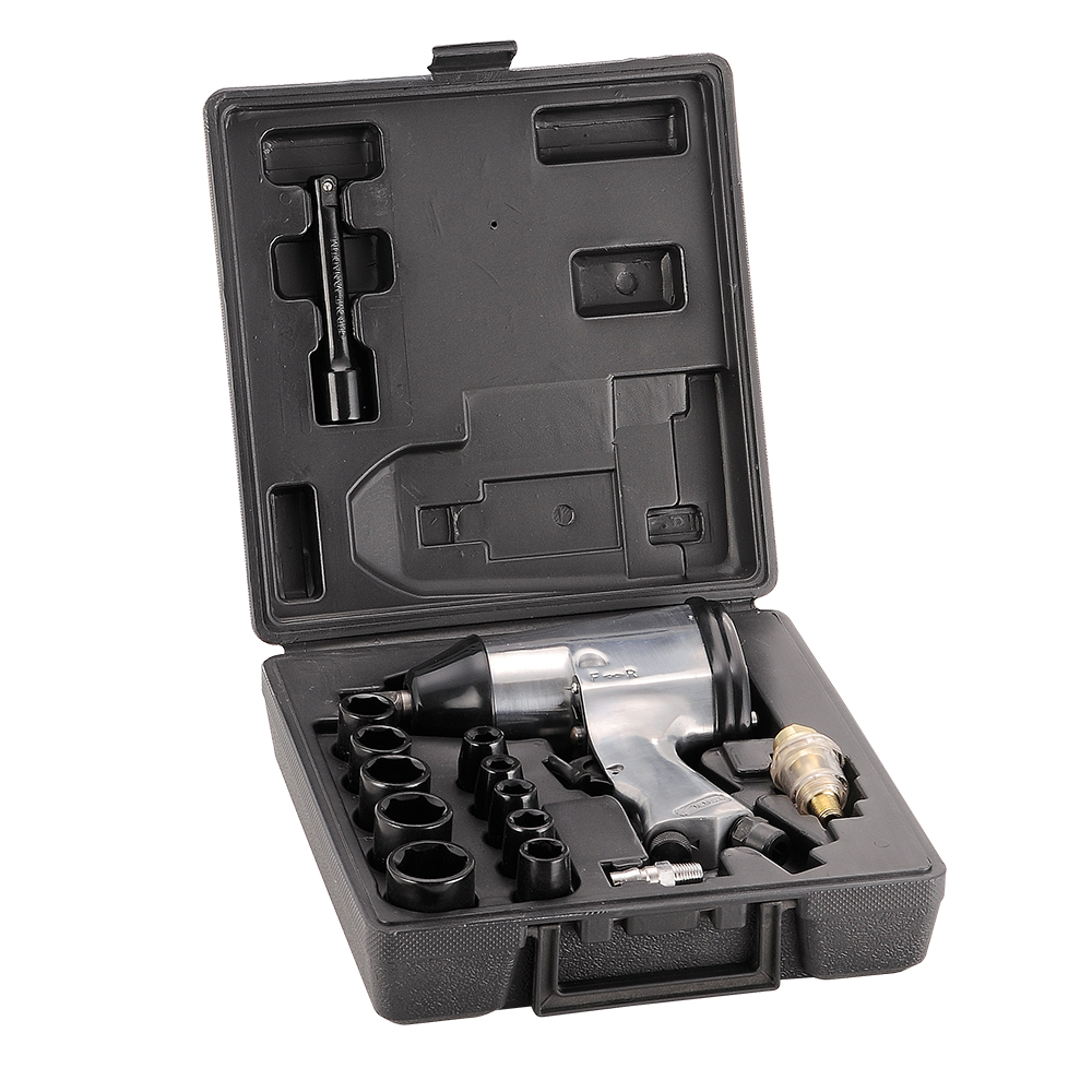 1/2 drive pneumatic air impact wrench kit set single hammer front exhaust with 10 pieces sockets<br>