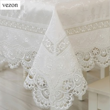 vezon Home Textiles Hot Sale Elegant Lace Tablecloths Peacock Jacquard Wedding Table Linen Cloth Covers Decoration Towels(China)