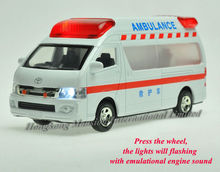 1:32 Scale Metal Diecast Alloy Ambulance Car Model For TOYOTA Himedic (Hiace) Collection Model Pull Back Toys Car Sound&Light